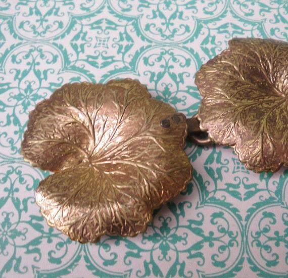 Vintage Buckle - Metal Dress Belt Buckle  - Leaf Design - copper and brass tones