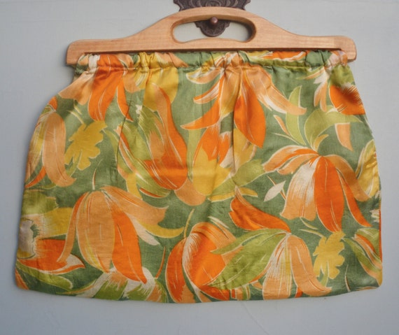 Vintage Fabric Purse Knitting Sewing Purse Bag 30s 40s Floral Fabric Handbag 1930s 1940s Rayon