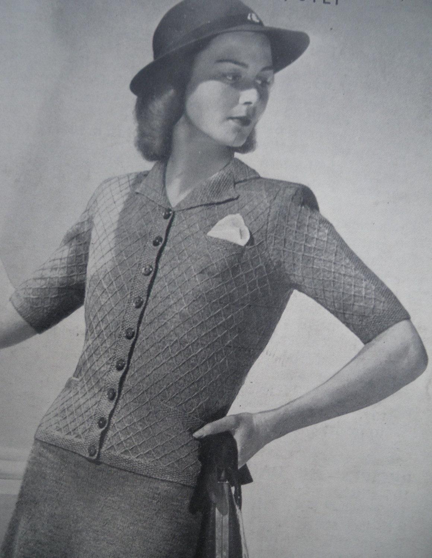 Vintage Knitting Pattern 1930s 1940s Women's by ...