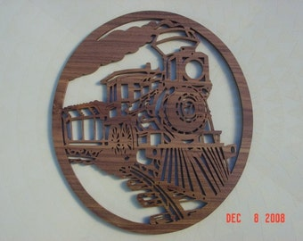 locomotive wall hanging OOAK