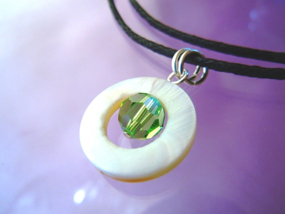 PEACE - Peaceful Chryssolite and Mother of Pearl Necklace
