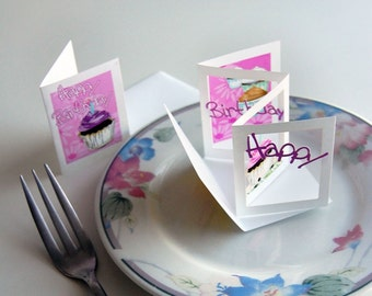 Birthday Cupcake POPupfoldOUT (flowy font) Small & Large