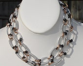 Rosie, handmade aluminum, copper and black hex nut hardware, industrial, infinity link neck chain