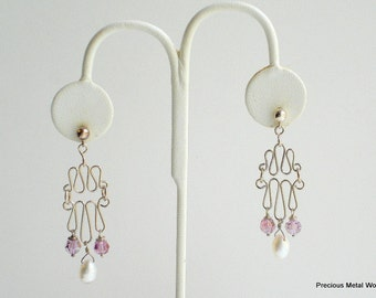 Janine, handmade, sterling silver wire, Swarovski rose ab crystal and pearl, wire wrapped, pierced, dangle earrings