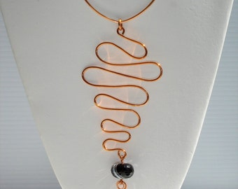 Enceladus, handmade, Copper wire and chain, crazy lace agate and black suede lacing necklace with pendant