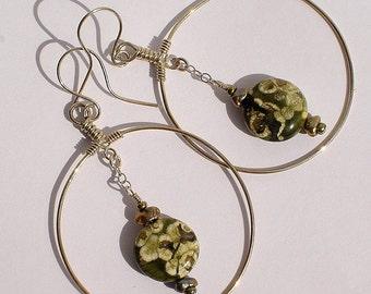Oberon, handmade Rhyolite and bronze Keishi pearl, pierced, hoop, dangle earrings in sterling silver