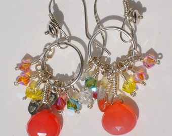Boca Chica,  handmade, neon, grapefruit pink, Calcedony and  Swarovski crystal earrings