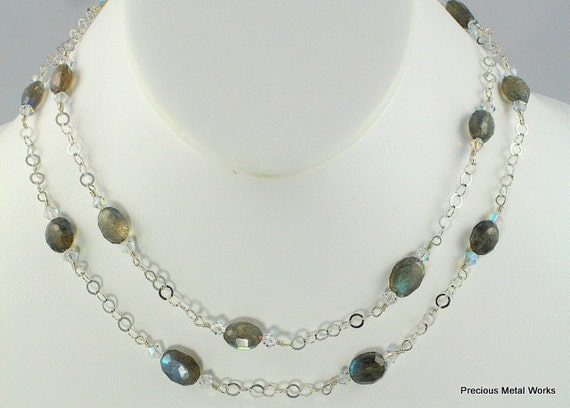 Paige, handmade, original, wire wrapped Labradorite oval beads and Swarovski crystal station necklace and earrings