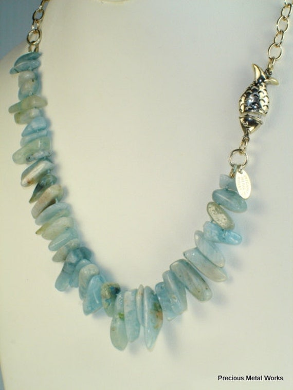 Amazon, handmade, hand knotted, smooth Amazonite chip beads and sterling silver chain and fish clasp