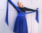 Handmade circle skirt , plus size flexi fit  sapphire blue upcycled fabrics, long sash