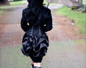 MINI Black SATIN Victorian Steampunk Mourning Bustle by Boudoir Noir