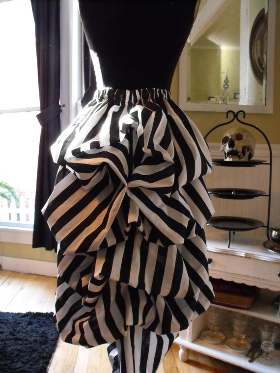 Black and White striped Victorian Steampunk Mourning Bustle by Boudoir Noir