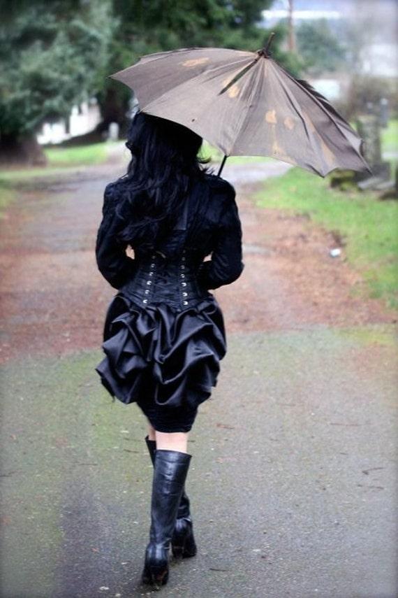 MINI Black SATIN Victorian Steampunk Mourning Bustle by Boudoir Noir