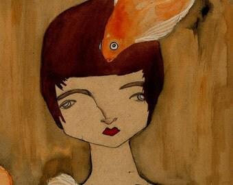 Maya - A3 Print of nude with goldfish