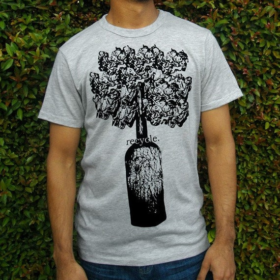 Recycled Tree T-shirt Grey Mens - S M L XL Graphic