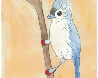 Ilya - Birds in Heels Series - Watercolor Print Postcard