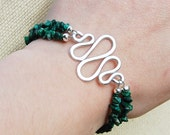 Silver. Squiggle. Malachite. Teal. Bracelet. Wire Jewelry.