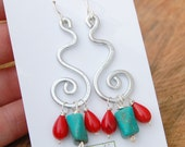 Red and Turquoise Earrings, Funky, Silver, Spiral, Wire Jewelry