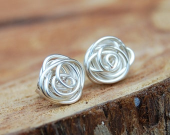 Rose Bud Posts, Wire Knot, Sterling Silver, Wire, Wire Jewelry