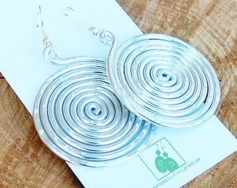 Large Silver Disc Earrings, Aluminum, Wire Jewelry
