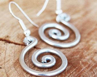 Silver. Aluminum. Spiral. Earrings.