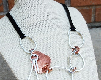 Silver. Aluminum. Copper. Sticks and Stones. Collage. Necklace.