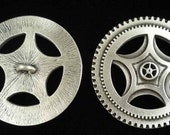 Steampunk Gear Button Two Inch  Fine Pewter Made in USA