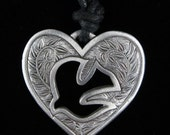 Pewter Dove Heart Pendant in Fine Pewter