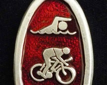 Triathlon Christmas Tree Decoration. TRI Christmas Ornament in fine pewter