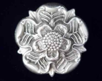 Tudor Rose Brooch Pin - Tudor Jewelry in Fine Pewter by Treasure Cast Pewter