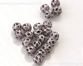 Bead, Antiqued Silver 4mm Cut Out Round
