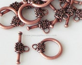 Clasp, Antique Copper 16x14mm Toggle With Flower