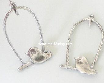Antique Silver Lovely Bird Charm Pendant