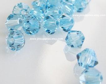 Bead, Swarovski Crystal Aquamarine, 4mm Xilion Bicone