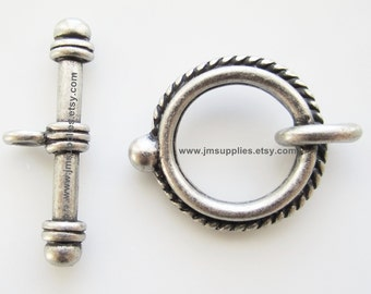 Toggle Clasp, Antique Silver 18mm Double Sided Twisted Rope Round