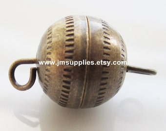 Clasp, Barrel, Antiqued Gold 11mm Textured Round With Fancy Design