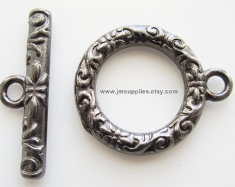 Toggle Clasp, Gunmetal 17mm Single Sided Round With Vine And Flower Design