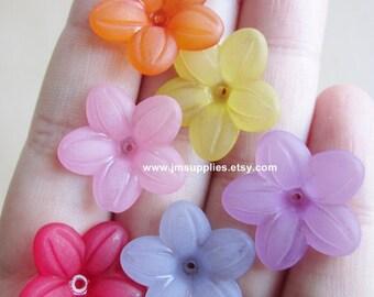 BULK Mixed Color Acrylic Lucite Flower Bead