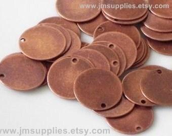Drop, Antiqued Copper 12mm Disc