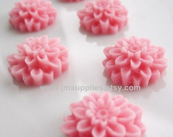 Pink 15mm Chrysanthemum Flower Cabochon
