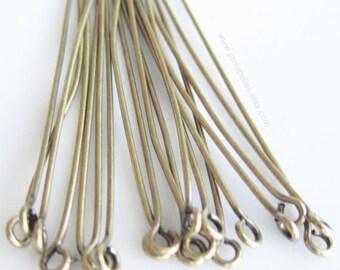 1-1/2 Inch, 22 Gauge Eyepin, Antiqued Gold