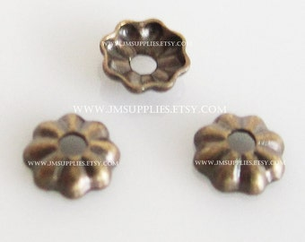 Tiny Bead Cap, Antiqued Gold 3.5mm Ribbed