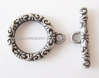 Toggle Clasp, Antique Silver 17mm Single Sided Round With Vine And Flower Design