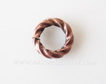 6mm 16 Gauge Jumpring Antique Copper Fancy Round