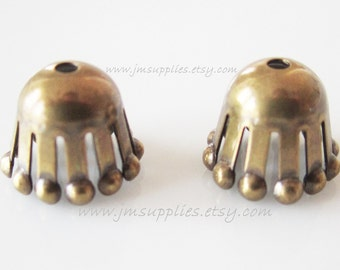 Bead Cap, Antiqued Gold 9x7mm Long Round with Ball Ends