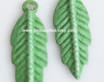 Drop, Bright Green Patina, 20x7mm Double-Sided Feather