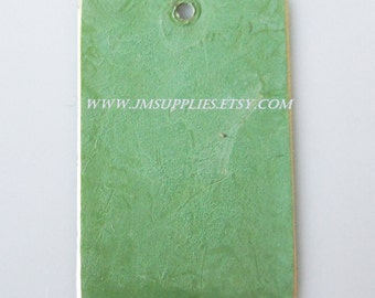 Focal, Bright Green Patina, 30x20mm Double-Sided Top-Drilled Rectangle
