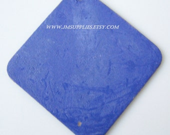 Focal, Jewel Tone Blue Patina, 40x40mm Double-Sided Top-Drilled Diamond