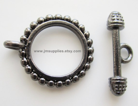 Toggle Clasp, Gunmetal 18mm Double Sided Beaded Round