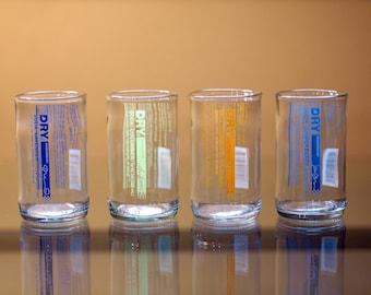 YAVA Glass - Dry Soda Bottle Glasses (Variety Set of 4)